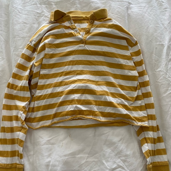 American Eagle Outfitters Tops - Yellow Striped AEO Long Sleeve